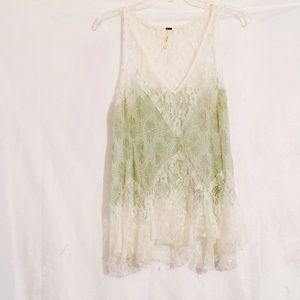 Free People Lace tank top Blouse size small